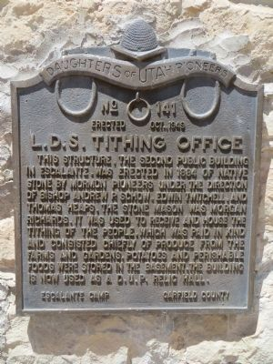 L.D.S. Tithing Office Marker image. Click for full size.