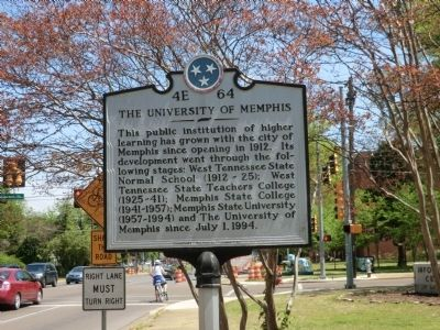 The University of Memphis Marker image. Click for full size.