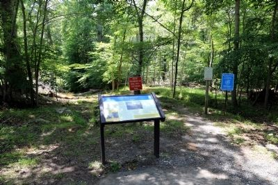 Wolf Run Shoals Marker at the End of the Paved Road image. Click for full size.