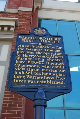 Warner Brothers' First Theater Marker image. Click for full size.