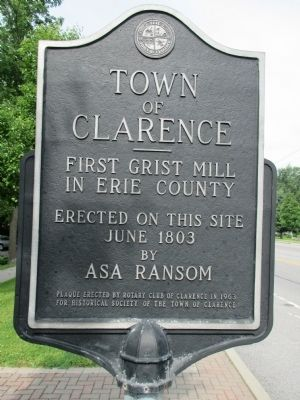 Town of Clarence - First Grist Mill in Erie County Marker image. Click for full size.