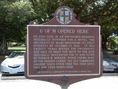 U of M Opened Here Marker image. Click for full size.
