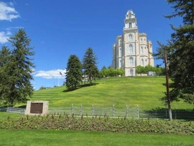 The Manti Temple and Marker image. Click for full size.