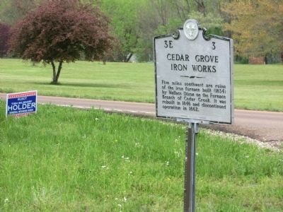 Cedar Grove Iron Works Marker image. Click for full size.