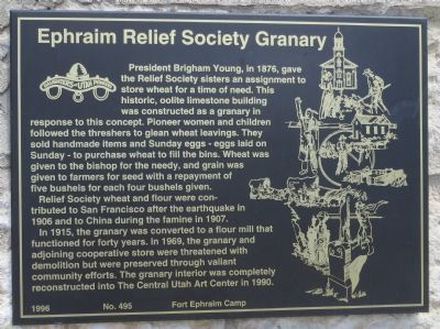 Ephraim Relief Society Granary Marker image. Click for full size.