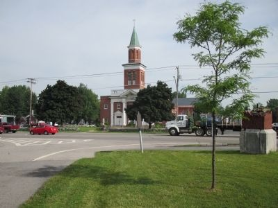 Harris Hill Marker, Main Street in Background image. Click for full size.