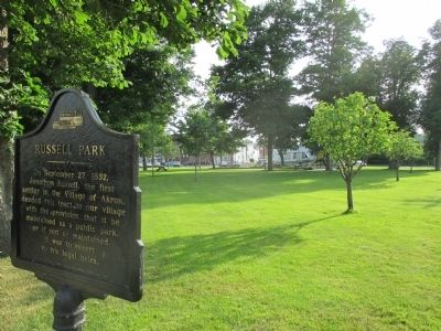 Russell Park Marker and View Towards Playground image. Click for full size.