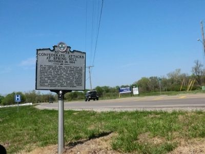 Confederate Attacks at Spring Hill Marker image. Click for full size.
