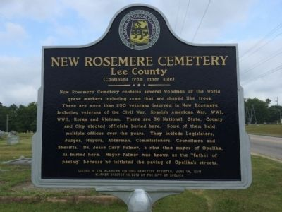 New Rosemere Cemetery Marker (reverse) image. Click for full size.