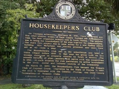 Housekeepers Club Marker image. Click for full size.