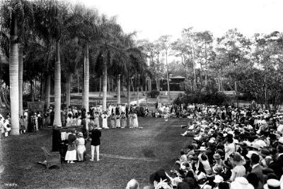 Housekeepers club members performing outdoors at the James estate - Coconut Grove image. Click for full size.