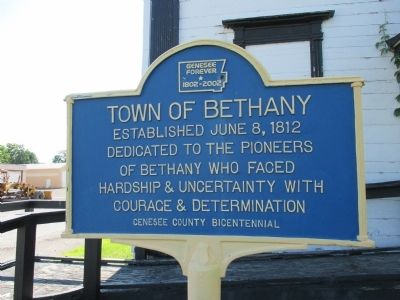 Town of Bethany Pioneers Dedication image. Click for full size.