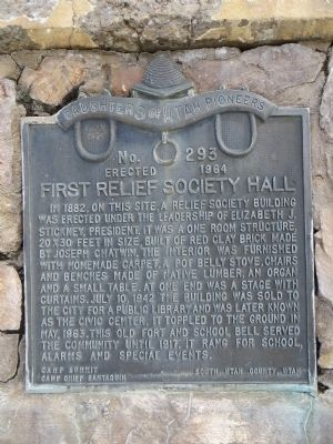 First Relief Society Hall Marker image. Click for full size.