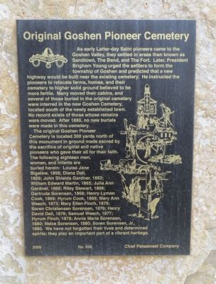 Original Goshen Pioneer Cemetery Marker image. Click for full size.