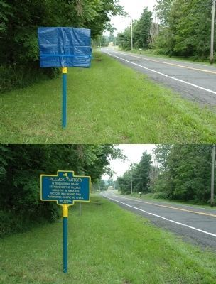 Pillbox Factory Marker - Before and After Unveiling image. Click for full size.