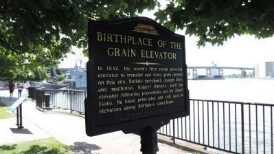 """Birthplace of the Grain Elevator"" Marker image. Click for full size."