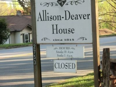 Allison-Deaver House-Sign at the Entrance image. Click for full size.