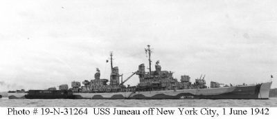 USS <i>Juneau</i> (CL-52) Memorial Marker image. Click for full size.