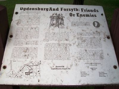 Ogdensburg And Forsyth: Friends Or Enemies Marker image. Click for full size.