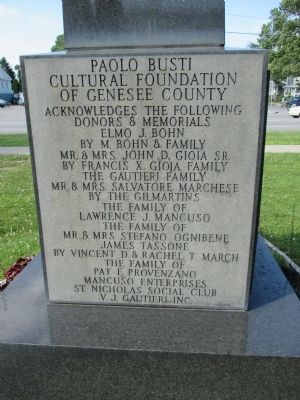 Back Text of Paolo Busti Monument Marker image. Click for full size.