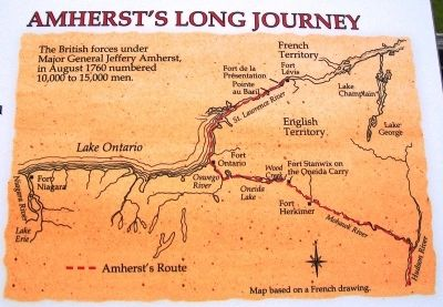 Amherst's Long Journey on Fort Lévis - 1760 Marker image. Click for full size.