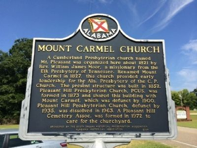 Mount Carmel Church Marker image. Click for full size.