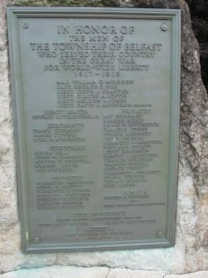 Township of Belfast World War I Memorial Marker image. Click for full size.