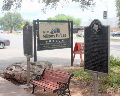 Adjutants General Marker, on the right, is located in front of the Texas Military Forces Museum. image. Click for full size.