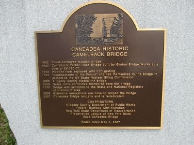 Caneadea Historic Camelback Bridge Marker image. Click for full size.