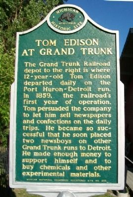 Tom Edison at Grand Trunk Marker image. Click for full size.