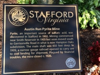 Austin Run Pyrite Mine Marker image. Click for full size.
