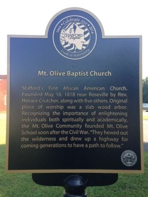 Mt. Olive Baptist Church Marker image. Click for full size.