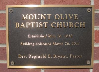 Mt. Olive Baptist Church 2011 Dedication Plaque image. Click for full size.