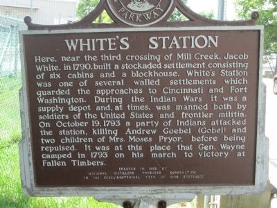 White''s Station Marker Text, same on both sides, south is weathered badly image. Click for full size.