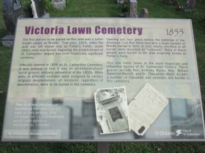 Victoria Lawn Cemetery 1855 Marker image. Click for full size.