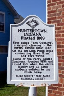 Huntertown, Indiana Marker image. Click for full size.