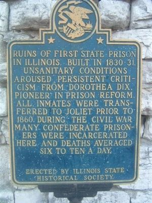 Ruins of the First State Prison in Illinois Marker image. Click for full size.