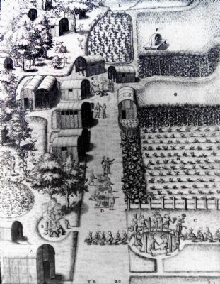 Engraving of American Indian Town 1588 image. Click for full size.