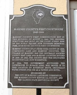 McHenry County's First Couthouse Marker image. Click for full size.
