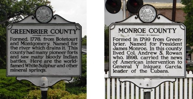 Greenbrier County / Monroe County Marker image. Click for full size.
