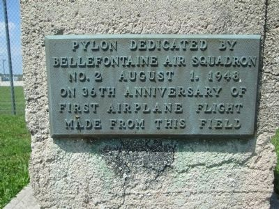 Plaque #2 - - Bellefontaine Airport Pylon Marker dedication plaque image. Click for full size.