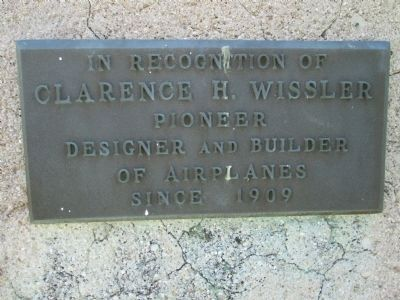 Plaque # 3 - - commemorating Clarence Wissler image. Click for full size.