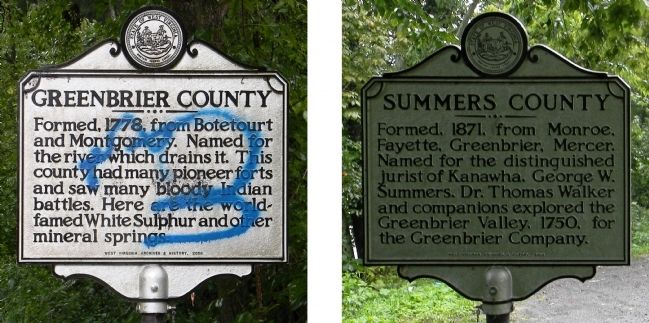 Greenbrier County / Summers County Marker image. Click for full size.