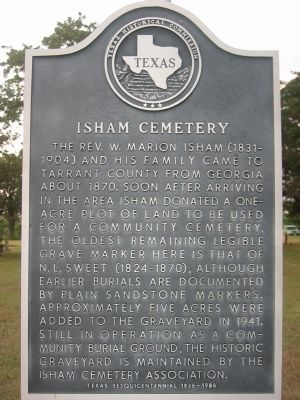 Isham Cemetery Texas Historical Marker image. Click for full size.