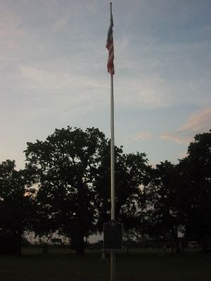 Isham Cemetery Marker and flagpole image. Click for full size.