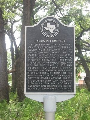 Harrison Cemetery Texas Historical Marker image. Click for full size.