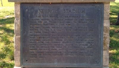 Sturgis Stadium Marker Close-Up image. Click for full size.