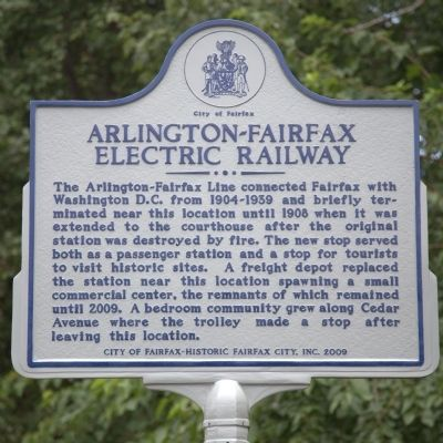 Arlington-Fairfax Electric Railway Marker image. Click for full size.