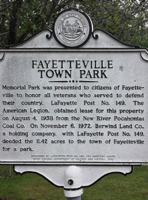 Fayetteville Town Park Marker image. Click for full size.