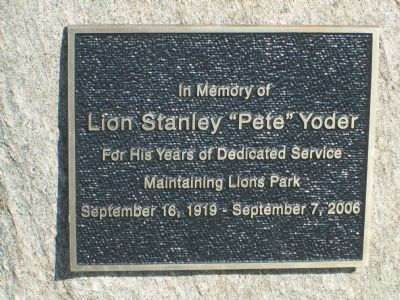 another Lion's Club Park Marker image. Click for full size.
